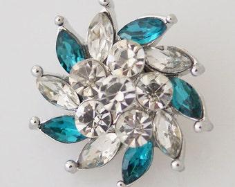 1 PC 18MM Blue Spiral Flower Rhinestone Silver Candy Snap Charm kb7375 CC0835