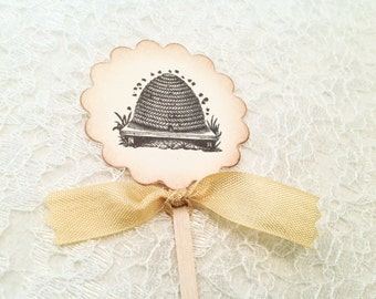 Beehive Cupcake Toppers and Picks-Bumblebee Cupcake Toppers Food Labels Cake Toppers-Set of 12