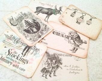 Christmas Gift Tags-Holiday Gift Tags-Vintage Style Christmas Tags-Set of 6
