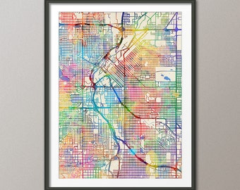 Denver Map, Denver Colorado City Street Map, Art Print (2058)