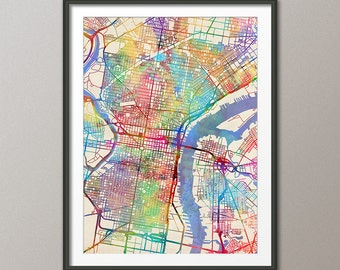 Philadelphia Map, Philadelphia Pennsylvania City Street Map, Art Print (2066)