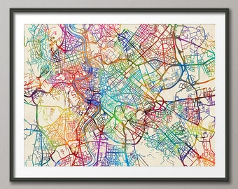 Rome Map, Rome Italy City Street Map, Art Print (2075)