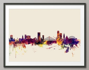 Liege Skyline, Liege Belgium Cityscape Art Print (2098)