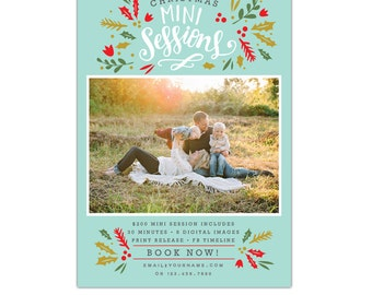 INSTANT DOWNLOAD - Christmas Mini Session template - Photoshop template - E1153