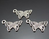 10 Butterfly Charms Antique Silver 18 x 11 mm Ships From The United States - ts695