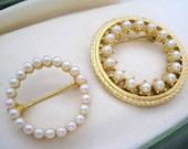 Pearl Circle Pins Gold Tone Wedding Lot of 2