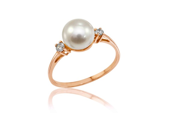 Rose Gold Engagement Ring Pearl Engagement Ring June by TANSO