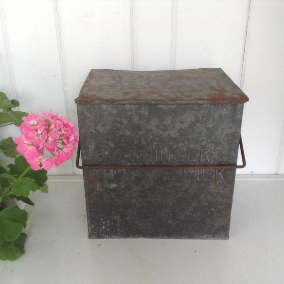 vintage galvanized milk box dairy breuninger 39 s quality. Black Bedroom Furniture Sets. Home Design Ideas