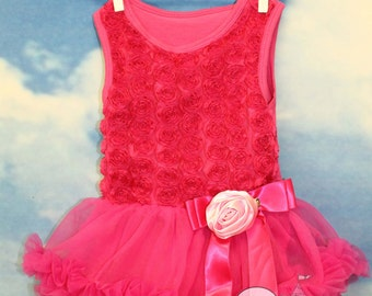 Girls tutu rosetta dress ruffles rosette bodysuit petti hot pink matching hair bows barefoot sandals photo birthday bow headband boutique