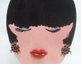 Unique Vintage Wood Hand Painted Decorative Womans Head