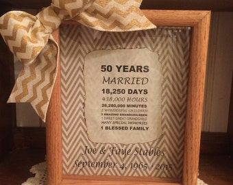 Personalized 50th Wedding Anniversary Gift Years, Months, & Days Countdown 8 x 10 Wooden Shadow Box FREE SHIPPING