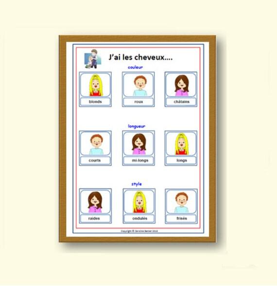 Describe Your Hair French School Posterlearn To Describe Hair