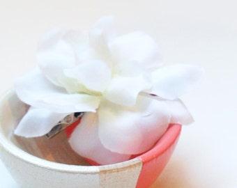 Wedding Flower Hair Piece, White Flower Hair Clip, Bridal Hair Flower, Classic Simple