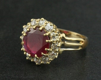Antique 2.50 Carat Ruby and Diamond Halo Engagement Ring in 14k Yellow Gold