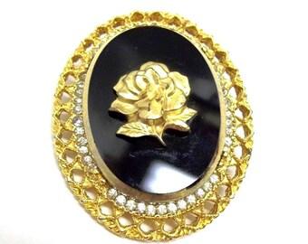 Cameo Brooch Pendant Black Glass Gold Rose Celebrity New York Cameo Pendant Rhinestones Vintage Black Gold Cameo Black Gold Bridal DD 684