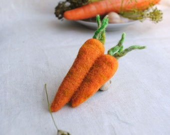 Vegan gift Carrot needle felted brooch vegetable vegetarian pin Inspired Jewelry