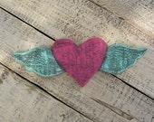 Heart With Wings Barn Wood Cutout Pink Turquoise Primitive Folk Art Winged Junk Gypsy Reclaimed Wood Custom