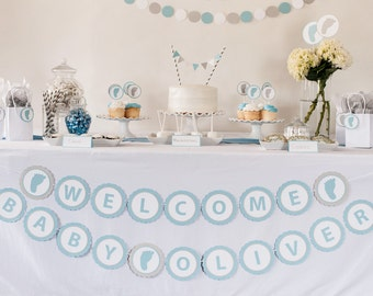 Welcome Baby Banner - Personalized Baby Shower Banner - Baby Name Banner - Custom Baby Shower Banner - Baby Boy Shower Decorations