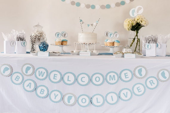 Welcome baby banner personalized baby shower banner for Welcome home baby shower decorations