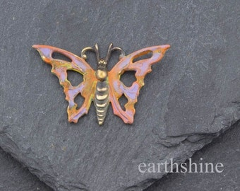 Antique brass butterfly hand painted with orange and lilac patina