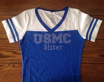 USMC Sister • V Neck • Football Shirt • Navy • ARMY • USAF • Mom • Girlfriend • Wife