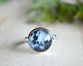 30% OFF Moon Ring - Glass Ring - Adjustable Galaxy Ring - Blue Grey Planet  - J31-8