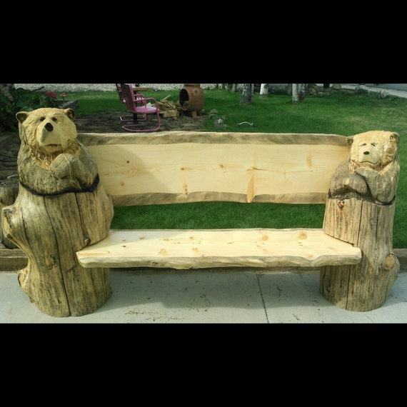 Rustic bench chainsaw carving large carved