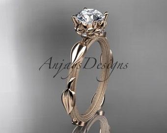 14k  rose gold diamond vine and leaf wedding ring,engagement ring ADLR290