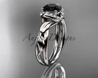 Platinum diamond leaf andvine  wedding ring,engagement ring with black diamond center stone.ADLR289
