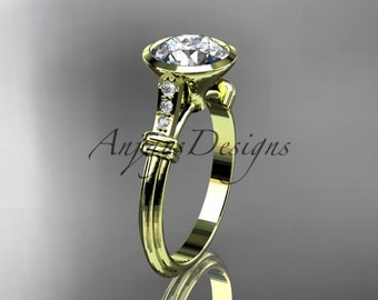 "14k yellow gold diamond leaf and vine wedding ring,engagement ring with ""Forever One"" Moissanite center stone ADLR23"