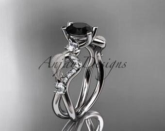 14kt white gold diamond leaf and vine wedding ring, engagement ring with Black Diamond center stone ADLR68
