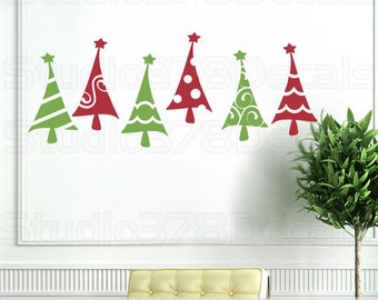 Christmas Trees - Vinyl Wall Decal - Christmas Decorations - Vinyl Wall Stickers - Gold - Red and Green - Set of 6 - 4.5 x 8.5 each