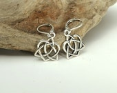 Celtic Heart Earrings Silver, Dangle, Trinity Knot, French Celtic Jewellery for Woman, Birthday Gift Idea Wife, Best Friend Birthday Gift
