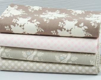 Tilda Fabric All That is Spring Four Fat Quarter Bundle Sally Brown - Nina Pink - Bird Sand - Nina Sand