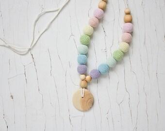 Scandi Rainbow Nursing Necklace Breastfeeding, Babywearing, Organic Baby Teether, for mom to wear, eco-friendly - FrejaToys
