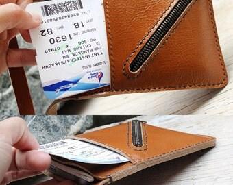 Passport wallet/ beige genuine cow leather cross mini zip with neck strap