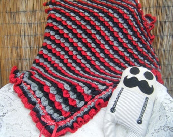 Crocodile Stitch Crocheted Baby Blanket Unique in Shades of Grey, Black and Red - One Of A Kind