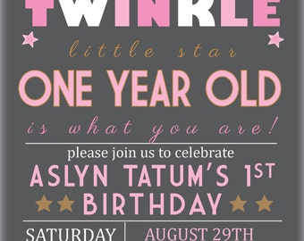 Twinkle Twinkle Little Star, One Year Old is What you Are! Gold and Pink Invitation