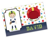 Sports Personalized Placemat - Sports Boy Stars Solid Bar Name with Name, Customized Laminated Placemat