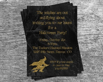 Witch on Broomstick Tombstone Gold Glitter Halloween Party or  Birthday Party Invitation Card - Any Color