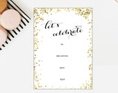 Lets Celebrate White and Gold Glitter Fillable Invitation - Instant Download