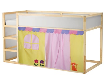 Cute Bed Playhouse / Bed tent / Loft bed curtain - free design and colors customization