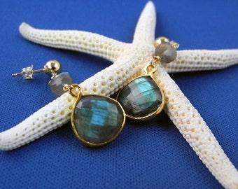 Labradorite Earrings, Dangle Earrings, Gold Vermeil Setting, Aurora Borealis, Blue Flash Labradorite, Faceted Labradorite, Long Earrings
