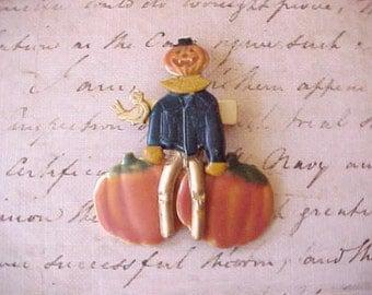 Darling Scarecrow and Pumpkin Brooch