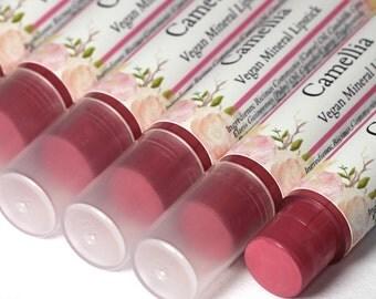 "Vegan Pink Lipstick - ""Camellia"" (rose pink lipstick) natural lip tint, balm, lip colour mineral lipstick"