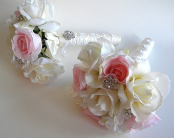 Real Touch Brides Maids Bouquets for Michelle Bouquet in Ivory or White
