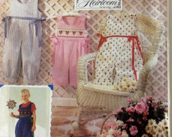 Classic Smocked Heirloom Romper Pattern - Simplicity 7305 Sizes 3-8