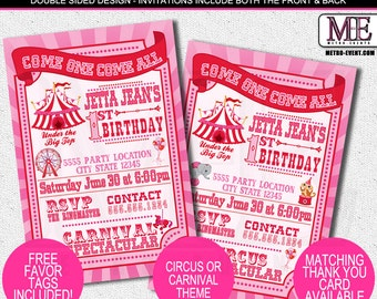 Fun and Festive, Pink & Red Carnival Birthday Invitations
