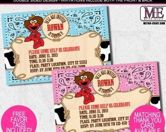 Cowboy Elmo Invitations, Western Elmo Invitations, Elmo Invitations, Elmo Invitation, Elmo Cowboy Invitation, Invitations, Invitation