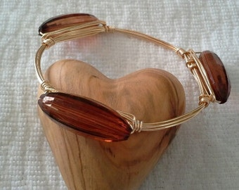 Bourbon & Bowties LIKE Rust Vintage Acrylic Bangle Bracelet, Gifts for Her, Bridesmaid Gifts, Wire Wrapped Bracelet, Gifts for Mom, Mother